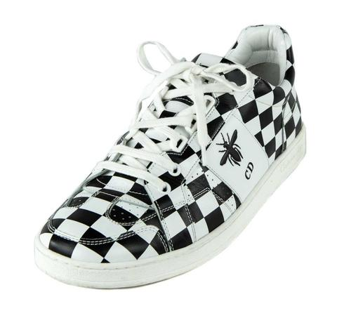 Giày thể thao Dior White & Black Leather D-Bee Check Print Low Top