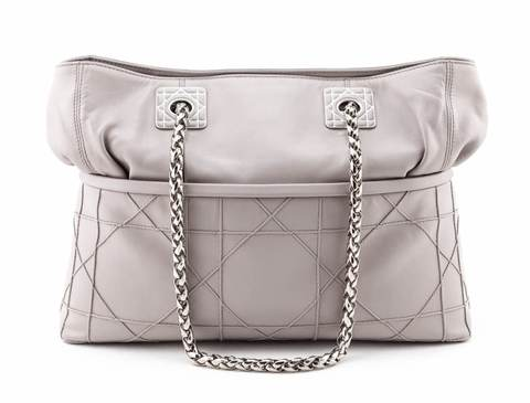 Dior Grey Lambskin Cannage Quilted Cannage So Dior Tote